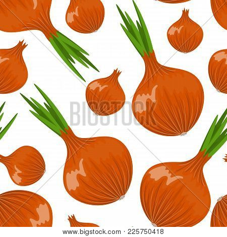 Vector Onion And Garlic Seamless Pattern. Seamless Pattern On White Background. Stock Vector.