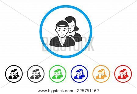 People Pair Rounded Icon. Style Is A Flat People Pair Grey Symbol Inside Light Blue Circle With Blac