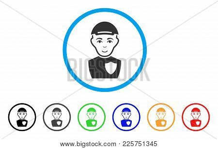 Sheriff Rounded Icon. Style Is A Flat Sheriff Grey Symbol Inside Light Blue Circle With Black, Gray,
