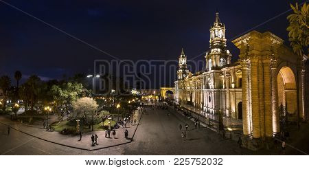 Main Square Plaza De Armas With Famous Basilica Cathedral Of Arequipa In Southern Peru, Unesco World