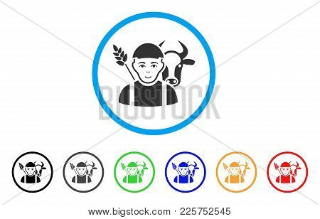 Farmer Rounded Icon. Style Is A Flat Farmer Grey Symbol Inside Light Blue Circle With Black, Gray, G