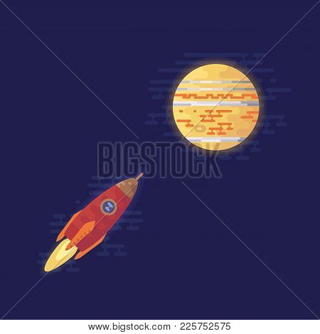 Space Ship Flies To The Planet Jupiter. Solar System Vector Illustration. Flat Icons.