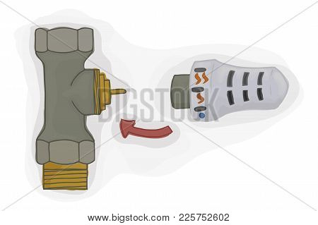 Straight Valve With Thermostatic Head For The Heating System. House Temperature Control Vector Illus