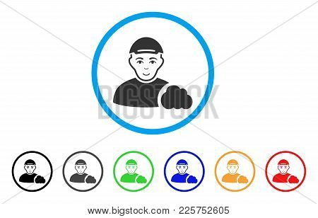 User Cloud Rounded Icon. Style Is A Flat User Cloud Grey Symbol Inside Light Blue Circle With Black,