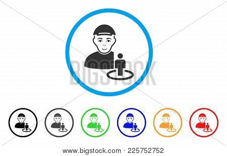Portal Administrator Rounded Icon. Style Is A Flat Portal Administrator Grey Symbol Inside Light Blu