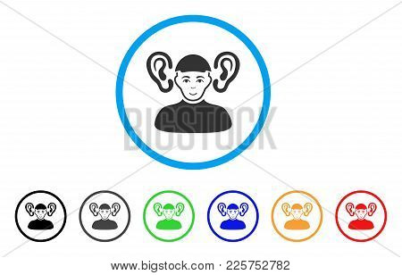 Listener Guy Rounded Icon. Style Is A Flat Listener Guy Grey Symbol Inside Light Blue Circle With Bl