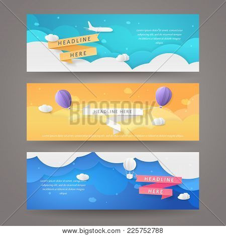 Set Of Vector Banners In Paper Cut Style With Airplane, Aerostat, Balloons And Ribbons. Template Wit