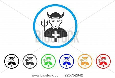 Satan Priest Rounded Icon. Style Is A Flat Satan Priest Grey Symbol Inside Light Blue Circle With Bl