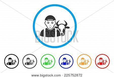 Cow Farmer Rounded Icon. Style Is A Flat Cow Farmer Gray Symbol Inside Light Blue Circle With Black,