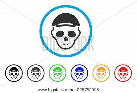 Skeleton Head Rounded Icon. Style Is A Flat Skeleton Head Grey Symbol Inside Light Blue Circle With