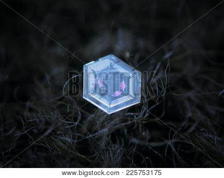 Real Snowflake Glowing On Dark Textured Background. Macro Photo Of Real Snow Crystal: Small Hexagona