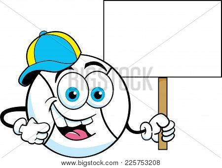 Cartoon Illustration Of A Baseball Wearing A Baseball Cap And Holding A Sign.