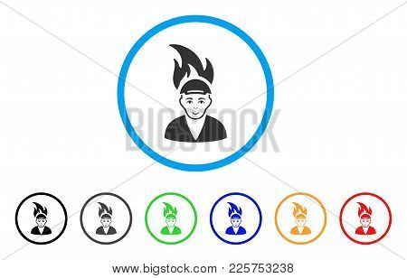 Burned Man Rounded Icon. Style Is A Flat Burned Man Gray Symbol Inside Light Blue Circle With Black,