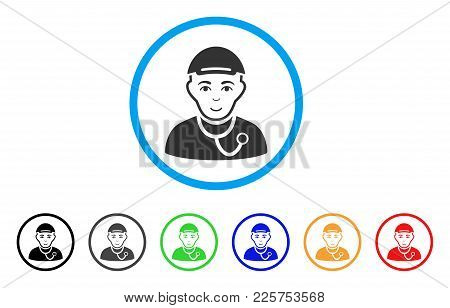 Medic Guy Rounded Icon. Style Is A Flat Medic Guy Grey Symbol Inside Light Blue Circle With Black, G