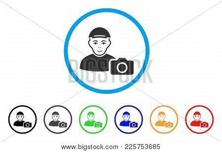 User Photo Rounded Icon. Style Is A Flat User Photo Grey Symbol Inside Light Blue Circle With Black,