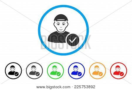User Valid rounded icon. Style is a flat user valid grey symbol inside light blue circle with black, gray, green, blue, red, orange color versions. Smiling user valid vector pictograph. poster