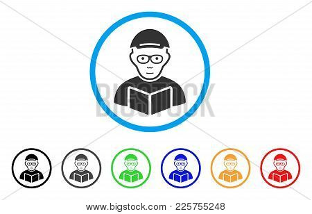 Reading Student Rounded Icon. Style Is A Flat Reading Student Gray Symbol Inside Light Blue Circle W
