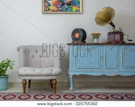Vintage Interior Of Retro Off White Armchair, Vintage Wooden Light Blue Sideboard, Old Phonograph (g