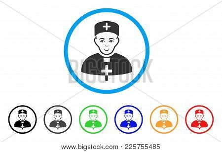 Monastic Doctor Rounded Icon. Style Is A Flat Monastic Doctor Grey Symbol Inside Light Blue Circle W