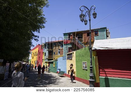 Buenos Aires, Argentina - January 20, 2018: Unindentified People At Caminito Street In La Boca, Buen