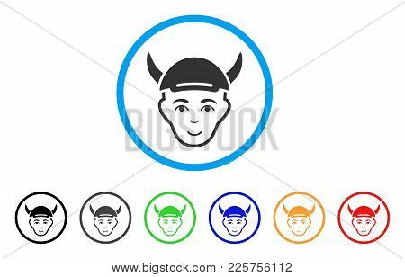 Horned Boy Head Rounded Icon. Style Is A Flat Horned Boy Head Gray Symbol Inside Light Blue Circle W