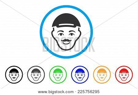 Hipster Head Rounded Icon. Style Is A Flat Hipster Head Gray Symbol Inside Light Blue Circle With Bl