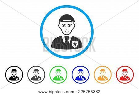 Police Officer Rounded Icon. Style Is A Flat Police Officer Gray Symbol Inside Light Blue Circle Wit
