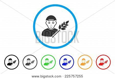 Rice Farmer Rounded Icon. Style Is A Flat Rice Farmer Grey Symbol Inside Light Blue Circle With Blac