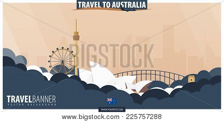 Travel To Australia. Travel And Tourism Poster. Vector Flat Illustration.