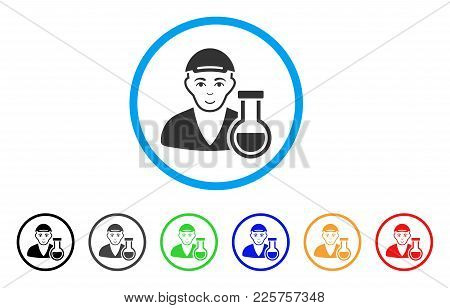 Chemistry Man Rounded Icon. Style Is A Flat Chemistry Man Grey Symbol Inside Light Blue Circle With