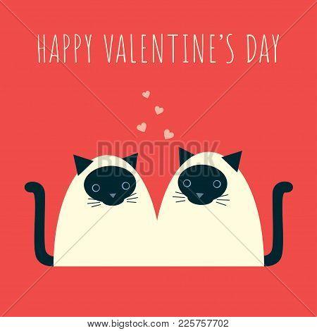 Valentines Siamese Cats Red Square