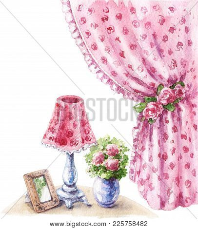 Watercolor Painting.  Hand Drawn Pink Decor Items In Shabby Style.  Old Lamp, Vase With Flowers, Vin