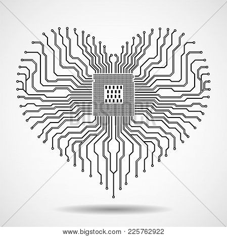 Abstract Electronic Circuit Board With Cpu In Shape Of Heart, Technology Background