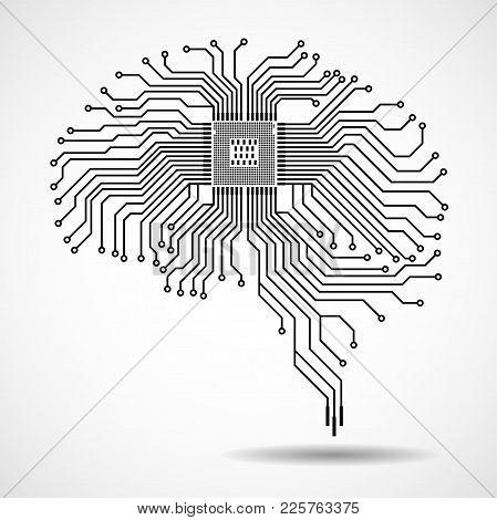 Abstract Technological Brain. Cpu. Circuit Board. Vector