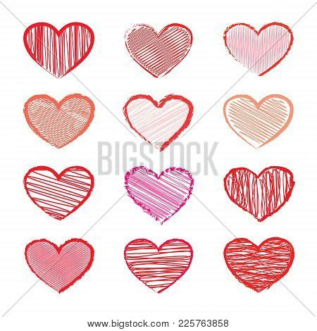 Set Of Hearts For Valentines Day. Hand Drawn Hearts. Design Elements For Valentines Day.