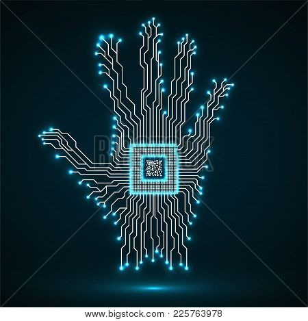 Abstract Neon Hand. Cpu. Circuit Board. Vector Illustration. Eps 10