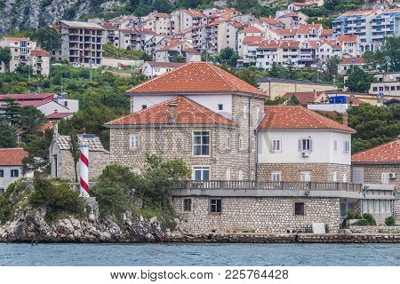 Building Of Marine Biology Institute And Saint Elijah Church In Dobrota Town Of Kotor Bay, Montenegr
