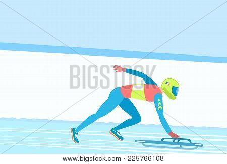 Winter Sport Skeleton. Athlete On A Sledge, Facedown, On A Snowy Track. Vector Illustration Eps-8.