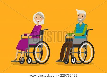 Disabled People In Wheelchair. Cartoon Vector Illustration