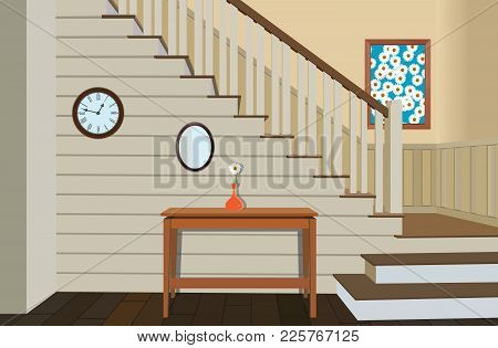 Vintage Interior Of The Hallway With A Staircase. Design Of Modern Hallway. Symbol Furniture, Hallwa