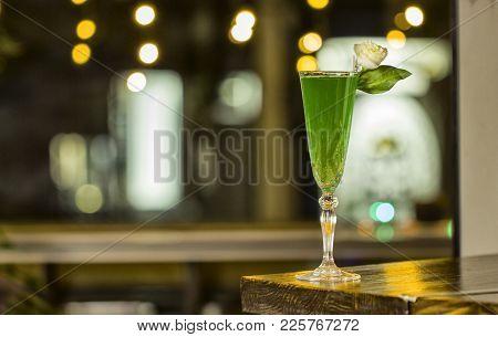 Nice Green Cocktail Wih Blur Background, Nice Lights