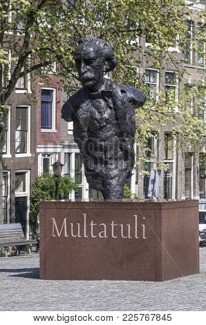 Amsterdam, Netherlands - April 29, 2007: The Multatuli Statue By Dutch Artist Hans Bayens In Amsterd
