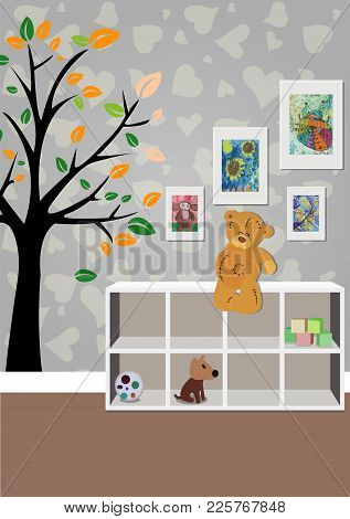 The Interior Of The Children's Room With Furniture, Toys, Children's Drawings. Illustration Of A Chi