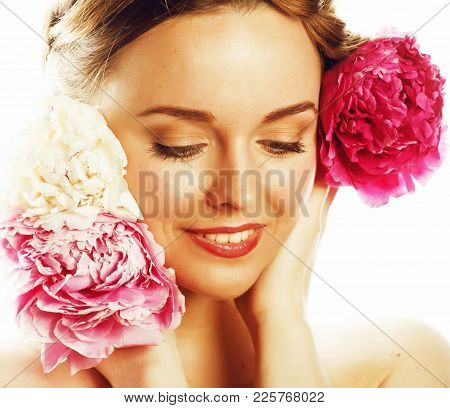 Young Beauty Woman With Flower Peony Pink Closeup Makeup Soft Tender Gentle Look On White