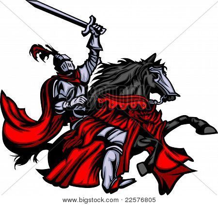 Knight Mascot on Horse