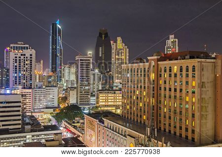 Panama City, Panama - November 2, 2017: Skyline Of Panama City At Night With Towerbank, Hyatt Place