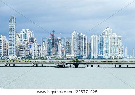 Panama City, Panama - November 3, 2017: Construction Boom In Panama City.  Skyline Of Panama City On
