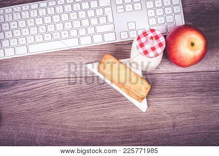 Keyboard, Apple And Breakfast