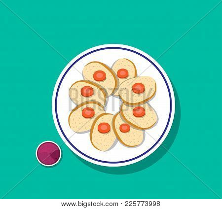 Top View, Sliced Gefilte Fish With Carrot On Top, Vector