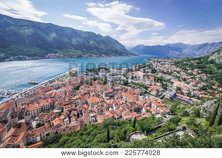 View On Bay Of Kotor With Old Part Of Kotor Town, Montenegro